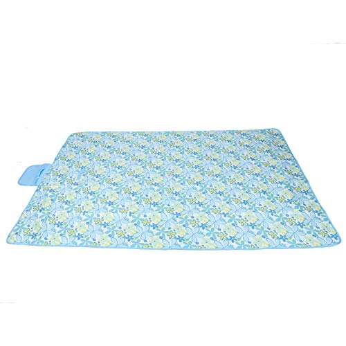 Jingyi Manta de Picnic, Gran Manta de Picnic Impermeable a Prueba de Humedad Colchonetas de Camping portátiles Manta de Camping Azul Claro con Estampado de Flores(#3)