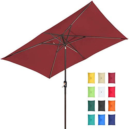 EliteShade Sunbrella 10x6.5 Ft Rectangular Market Umbrella Patio Outdoor Table Umbrella with Ventilation and 5 Years Non-Fading Top,Burgundy