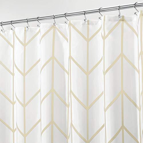 mDesign Dekorativer Duschvorhang mit Fischgrätenmuster, leicht zu pflegener Stoff, mit verstärkten Knopflöchern, für Badezimmer, Dusche, Stall & Badewanne, maschinenwaschbar, Hellgelb
