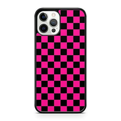 Pretty Pink Black - Carcasa para iPhone 5S, diseño de cuadros, color rosa y negro
