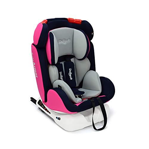 Daliya Sitorino 0-36 KG 0-12 Jahre Autositz Kindersitz Gruppe 0+1+2+3 Pink Lila mit Isofix Fix und Top Tether 5 Punkt Sicherheitsgurt ECE-R44 / 04