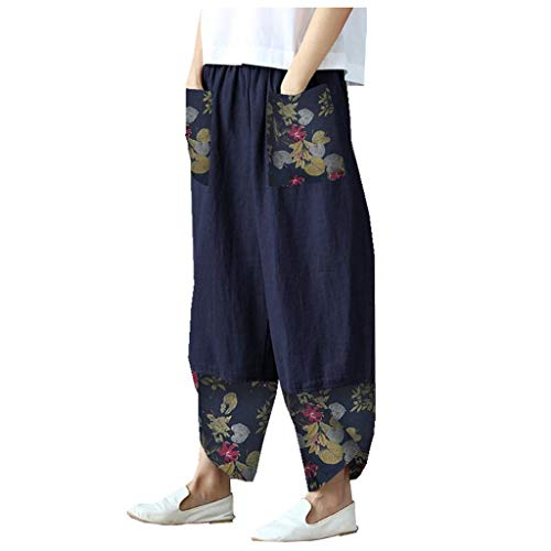 WUAI-Women Casual Loose Elastic Waist Drawstring Palazzo Pants Plus Size Boho Cotton Linen Cropped Wide Leg Pants(Dark Blue,Large)