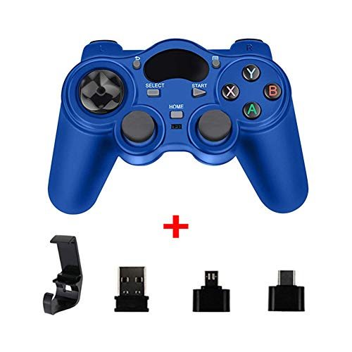 XLNB 2.4g Controller Gamepad Android Joystick Inalámbrico Joypad con Convertidor OTG para Ps3 / Teléfono Inteligente para Tablet Pc Smart TV Box,Azul