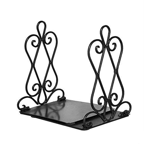 Zunbo boekensteunen van metaal, vintage-design, hol, dubbel, decoratief, voor boeken, kantoor en huis, zwart, 22 x 19 x 16 cm