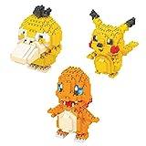 Juego de bloques de construcción para niños de microbloques de construcción Nano Micro Blocks DIY regalo para adultos y niños (contiene tres modelos pequeños Duck Pikachu Fire Dragon)