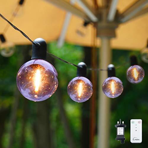 Outdoor String Lights, 8.2M/27FT IP44 Waterproof 20 LED G55 Bulb String Lights Plug in Powered, L.A.NOVA Indoor/Outdoor Festoon Lights for Garden, Party, Gazebo, Wedding, Valentine's Day (Warm White)