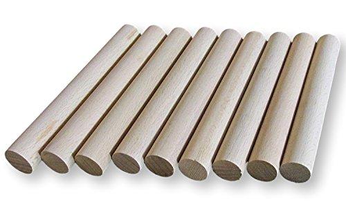 BrilliantBuys 10 x Holzdübel, Bastelstäbe, 20 mm dick, 10 cm lang