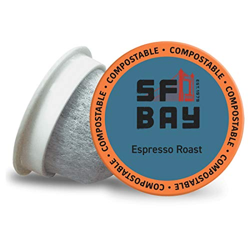 SF Bay Coffee Espresso Roast 80 Ct Dark Roast Compostable Coffee Pods, K Cup Compatible including Keurig 2.0 (Packaging May Vary)