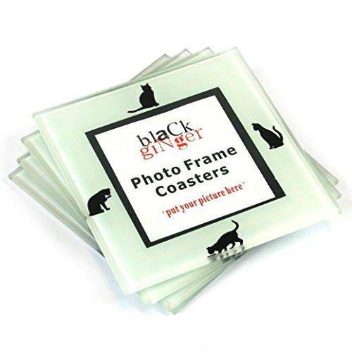 Black Ginger Glasuntersetzer mit Platz für Fotos, personalisierbar, Motiv: Katze, 4 Stück