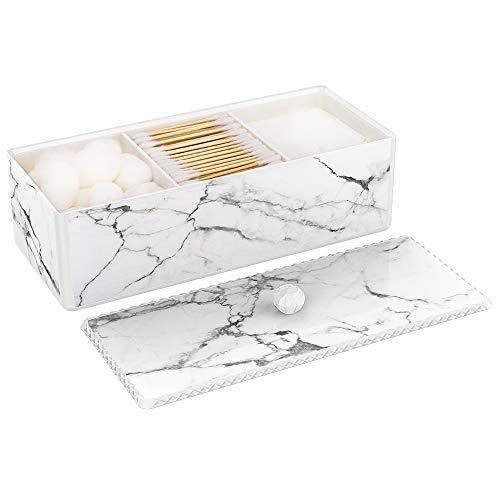 Luxspire Wattestäbchenhalter mit Deckel, 3 Fächern Wattebauschspender Wattepadspender Ohrstäbchenhalter mit Marmor Muster, Acryl Kosmetikorganizer Aufbewahrungsbox - Tinte Weiß