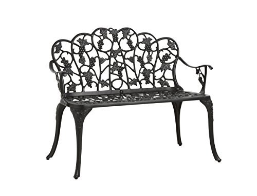 Outdoor Grapevine Bench for Yard, Garden, Patio, Powder Coated Cast Aluminum Frame, 2 Person Seat 41.75 W x 20.75 D x 33.5 H - Black