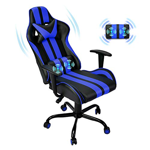 Massage Racing Chair for Gaming,PC Gaming Chair,Computer Chair,Ergonomic Office Chair with Adjustable Headrest and Lumbar Support (Blue)