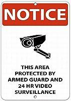 注意サイン-武装警備員と24時間のビデオ監視によって保護されています。通知のためのインチ通りの交通危険屋外の防水および防錆の金属錫の印