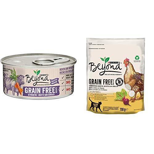 PURINA BEYOND Getreidefrei Katzenfutter Trocken- und Nassfutter Mix-Pack, Huhn mit Maniok und Rind mit Karotten, (6 x 700g und 12 x 85g)