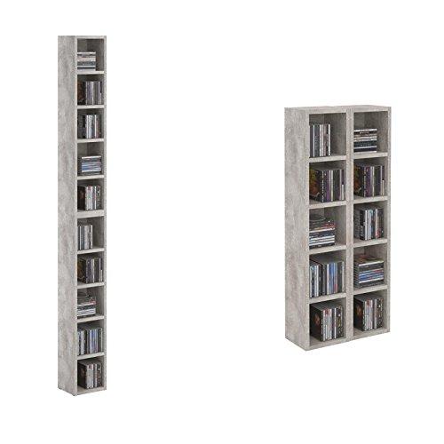 CARO-Möbel CD DVD Regal Standregal Medienregal Chart in Betonoptik mit 10 Fächern für bis zu 160 CDs, 20x186,5 cm (Breite x Höhe)