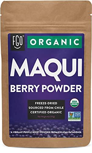 Organic Maqui Powder   4oz Resealable Kraft Bag   100% Raw From Chile   by FGO
