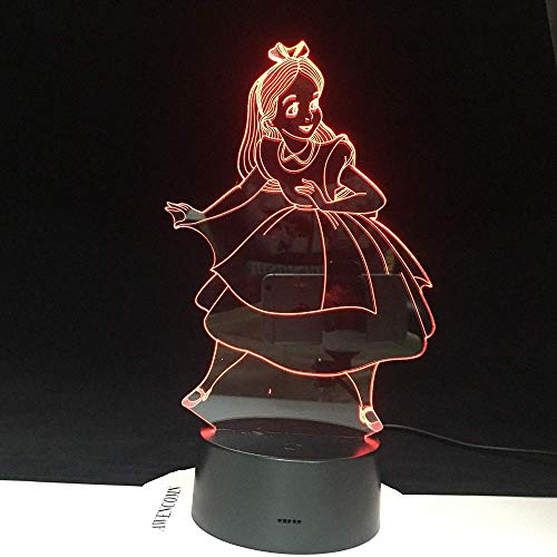 Princesas de luz nocturna 3DAlice en el país de las maravillas Figuras 7 colores que cambian la lámpara de escritorio táctil para niños Regalos de Navidad de cumpleaños