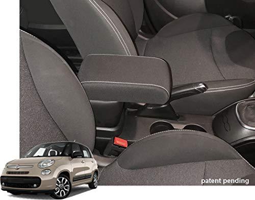 Bracciolo Premium per 500L dal 2017 in avanti in tessuto nero e cuciture bianche montaggio ad incastro integrato invisibile grande portaoggetti compatibile 500 L