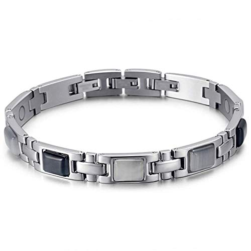 Elegant Titanium Magnetic Therapy Bracelet Pain Relief For Arthritis, Migraine & Pain Relief, Osteoarthritis, Menopause Support, Hot Flushes, Carpal Tunnel Men & Women (Silver)