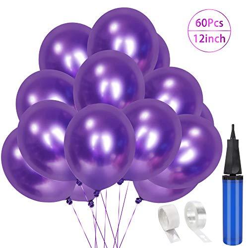 60 Stück Luftballons Violett Geburtstag Dekoration, 12
