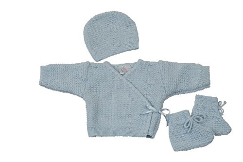 KING BEAR Set 3 pièces en acrylique pour bébé, brassière + bonnet + chaussons. Testé et approuvé pour le confort et sécurité de bébé