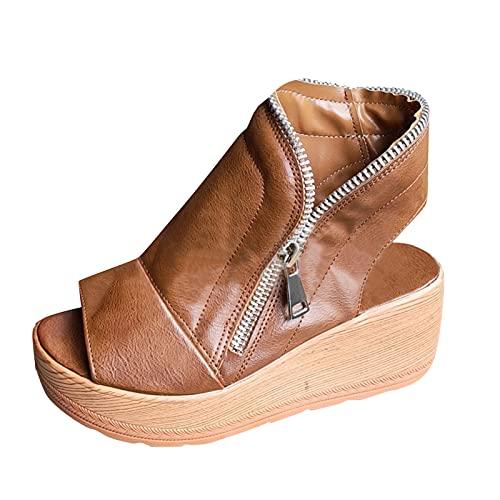 Sandalias Mujer Plataforma Madera con Punta Abierta Sandalias Mujer cuñas Mule Zuecos con Cremallera Zapatos Mujer cómodo Moda Bohemia tacónes Mujer de Vestir Verano Romanas de Playa 2021