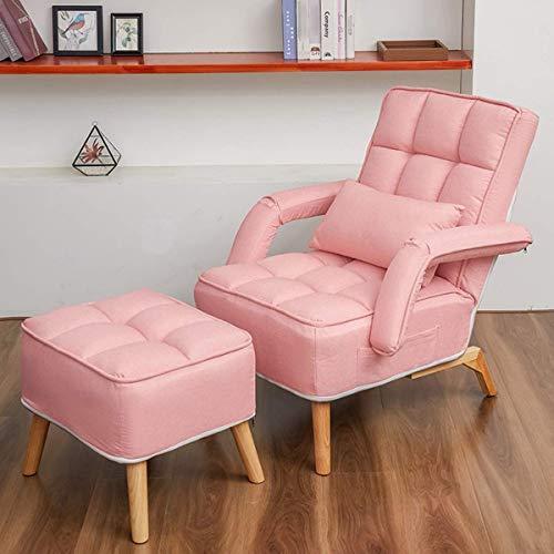 N/Z Home Equipment European Leisure Einzelsofa Klappbare Cabrio-Bettcouch mit Hocker und Kissen 5 Rückenlehnen-Einstellmodus Kreativität Liege Schlafsessel Lounge Sitzmöbel für Wohnzimmer Balkon Pink