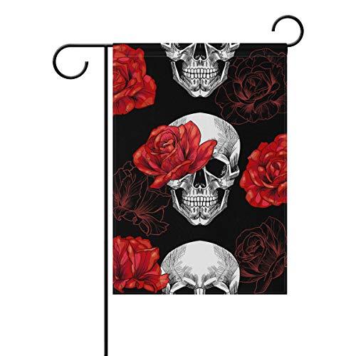Polyester Garden Drapeau foncé Style Gothique Evil Rose Tête de Mort Halloween Bannière 30,5 x 45,7 cm pour extérieur Home Garden Pot de Fleurs Décor fête Maison Drapeau 12x18(in) Multicolore