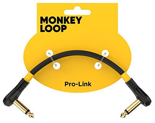 Monkey Loop - Pro Link Pedal Guitar Patch - Cable Jack Acodado a Jack Acodado - Longitud 5 cm - Diámetro 6 mm - Color Negro Mate - Cable Patch para Pedaleras - Accesorios para Guitarra