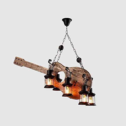 CHENJUNAMZ Retro de la Guitarra Creativa LED 6 Fuente de luz Vidrio Hierro Madera Habitación Sala Comedor Estudio de la lámpara