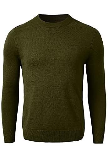 Maglione da uomo in lana merino leggero a girocollo Premium Essentials Solid Girocollo 12 Gauge Pullover, Oliva, XXX-Large