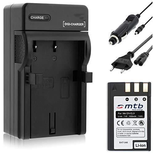 Batería + Cargador (Coche/Corriente) para Nikon EN-EL9 / D40, D40x, D60, D3000, D5000