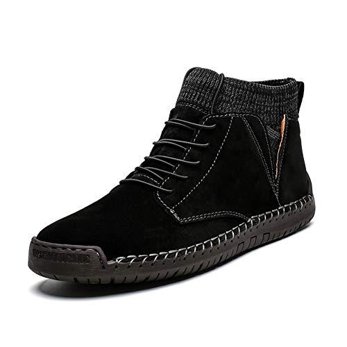 Heren Enkellaarzen Enkellaarsje voor Heren Hoge Top Laarzen Lace Up Suede Anti Slip Zachte Gebreide Sock Schoenen Borduurwerk Warmte Outdoor Flats (Fleece Inside Option) Fashion Laarzen
