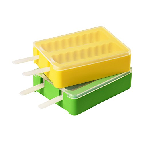 AROTAO Popsicle Molds Silicone Popsicle Maker Ice Pop Molds with 2 Lids and 4 Sticks - Easy Removal - Set of 2 Different Shapes - BPA Free - DIY Ice Cream Maker For Kids - Yellow and Green