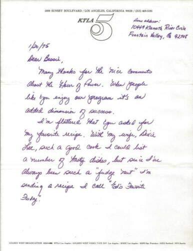 Ed Arnold Signed Handwritten 1975 Fudge Recipe & Letter KTLA