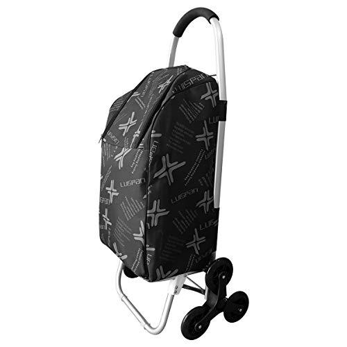 Doubleblack Carrito para subir escaleras con carrito de compras de 6 ruedas con línea de aislamiento térmico para ropa de mercado Capacidad máxima 50 kg - Negro