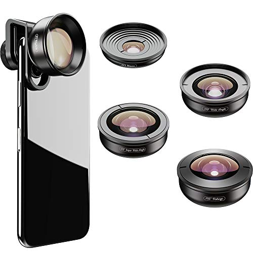 Moveski HD5V2 Cell Phone Lens 5 in 1 Optical Portrait Phone Camera Lens Macro Telephoto Fisheye Wide Ultra Wide for iPhone Android Smartphone
