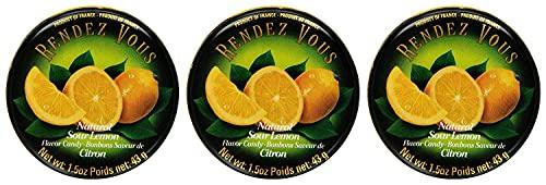 Rendez Vous Sour Lemon Citron 1.5-Ounce Tin Pack of 3 From France
