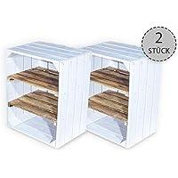 Vintage-Möbel24 - Juego de 2 cajas de fruta blancas con tabla intermedia veteada horizontal - cajas de madera como zapatero - Shabby Chic - 50 x 30 x 40 cm