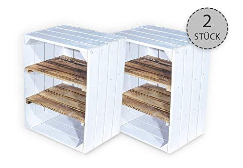 Juego de 2 cajas de fruta con tabla intermedia flameada horizontal – Cajas de madera como zapatero – Shabby Chic – 50 x 30 x 40 cm
