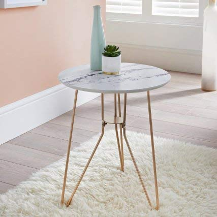 RA-HOMESTORE New Stunning Patina Side Table With Gold Finish Metal Legs, and a Marble Effect Top