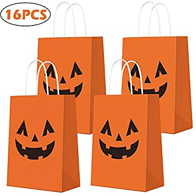 Halloween Pumpkin Gift Bags for Pumpkin Decor Tote Party Favor Goody Candy Gift Bag Trick or Treat Bags for Pumpkin Decorations Party Favors for Kids Adults Halloween Party Decorations - 16 PCS