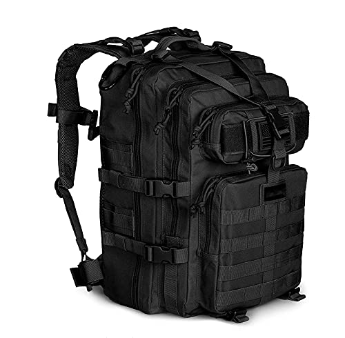 HRRF Travel Backpack, Large Backpack Military Army Camping Rucksack, Outdoor Mountaineering Backpack, Multifunctional Backpack 1-3 Day Pack | 40l,Black