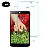 Lusee 2 Piezas Protector de Pantalla para LG G Pad 8.3 V500 Tablet Cristal Vidrio Templado [Dureza 9H] [Alta Definición] Resistente a los arañazos/Anti-Huellas 2.5D Borde Curvo Protector de Pantalla
