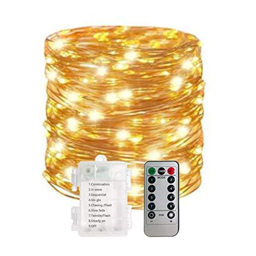 QPOWY 5M 10M Impermeable Control Remoto Luces de Hadas Luces LED con Pilas Decoración 8 Modo Temporizador Cadena Alambre de Cobre Navidad