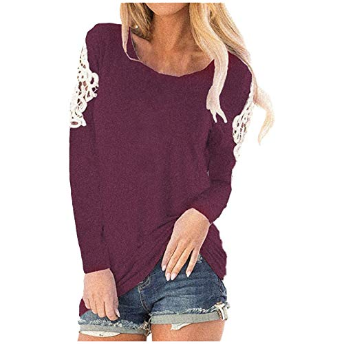 haoricu Womens Long Sleeve Blouse Round Neck Solid Lace Henley Shirt Tunic Top Casual Loose Movement Pullover