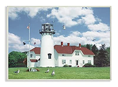 The Stupell Home Decor Chatham Lighthouse Bright Green Hill Blue Sky and Red Roof