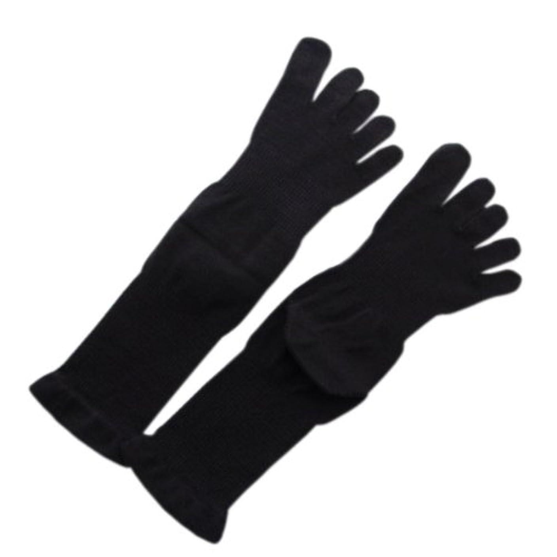 試験配る学士5本指薄手ソックス 黒M:オーガニックコットン100%足首を締め付けないソックス!
