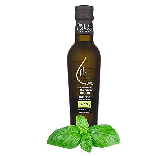 Pellas Nature, Fresh Organic Basil Infused Greek Extra Virgin Olive Oil, 2020 Gold Award Winner, Single Origin, All-Natural, No-Additives, 250 ml (8.5 oz.) Glass Bottle