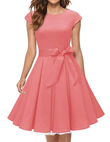 MuaDress 1956 Damen Vintage 1950er Retro Rockabilly Cocktail Prom Kleider Cap-Sleeve Koralle XXXL